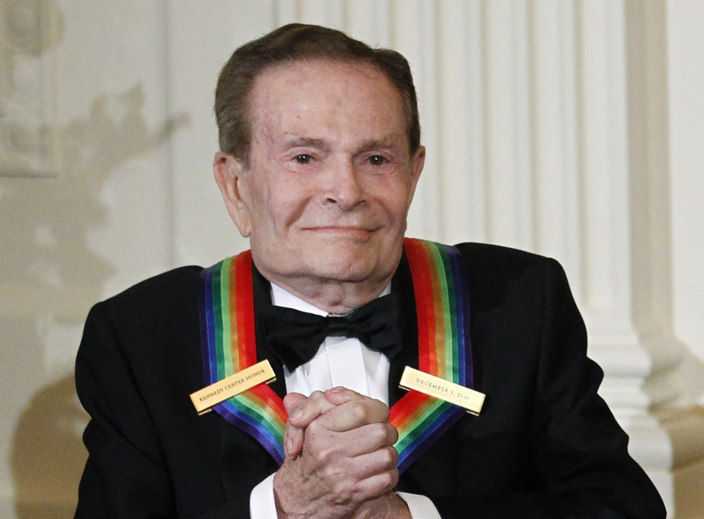 FILE - In this Dec. 5, 2010, file photo, composer Jerry Herman, one of the recipients of the 2010 Kennedy Center Honors is introduced during a recepti...