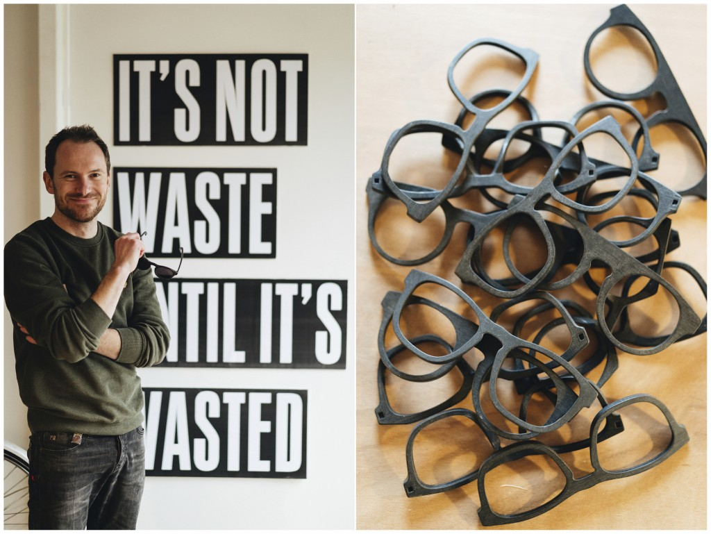 This combination of photos released by w.r.yuma shows Belgian designer Sebastiaan de Neubourg, left, and a collection of frames made from recycled mat...