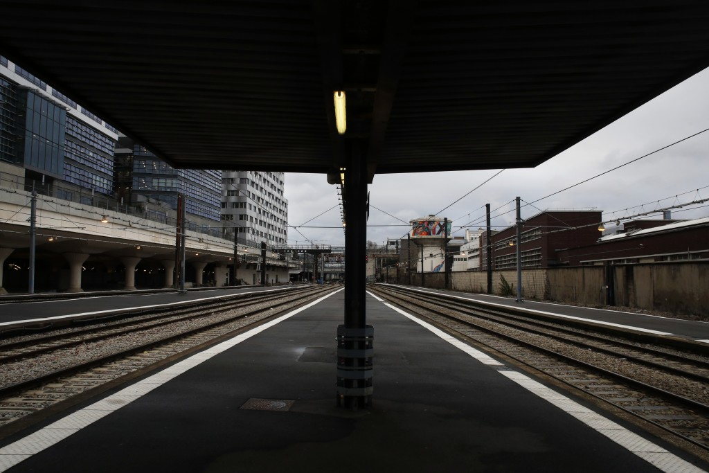 Empties railway platforms at the Gare d'Austerlitz railway station, in Paris, Friday, Dec. 27, 2019. France's punishing transportation troubles may ea...