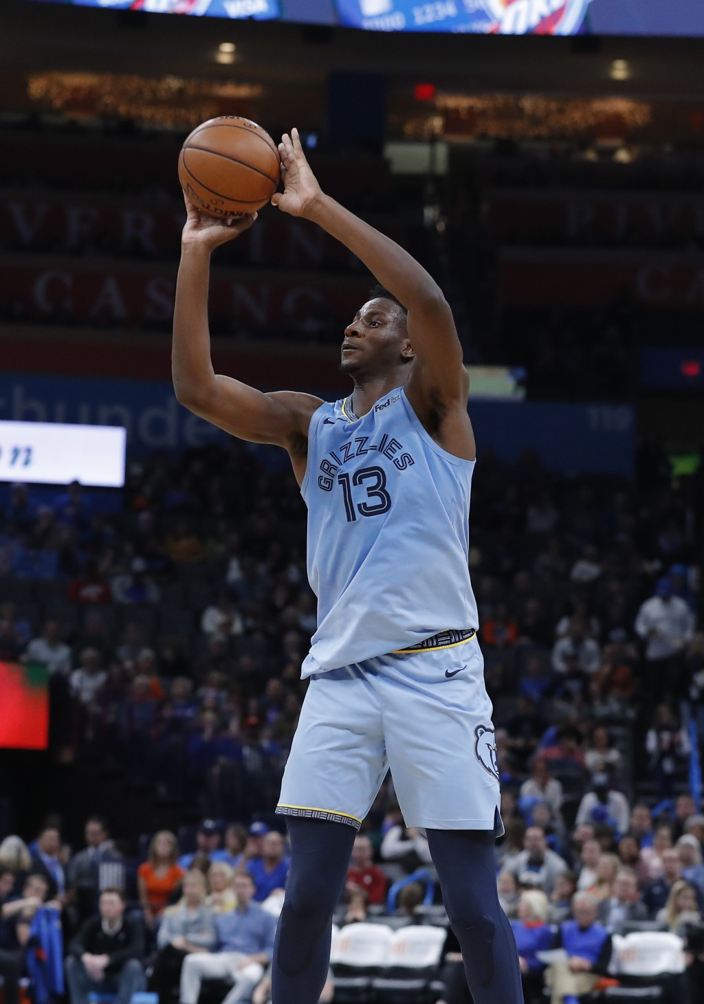 Memphis Grizzlies forward Jaren Jackson Jr. (13) shoots against the Oklahoma City Thunder during the second half of an NBA basketball game Thursday, D...