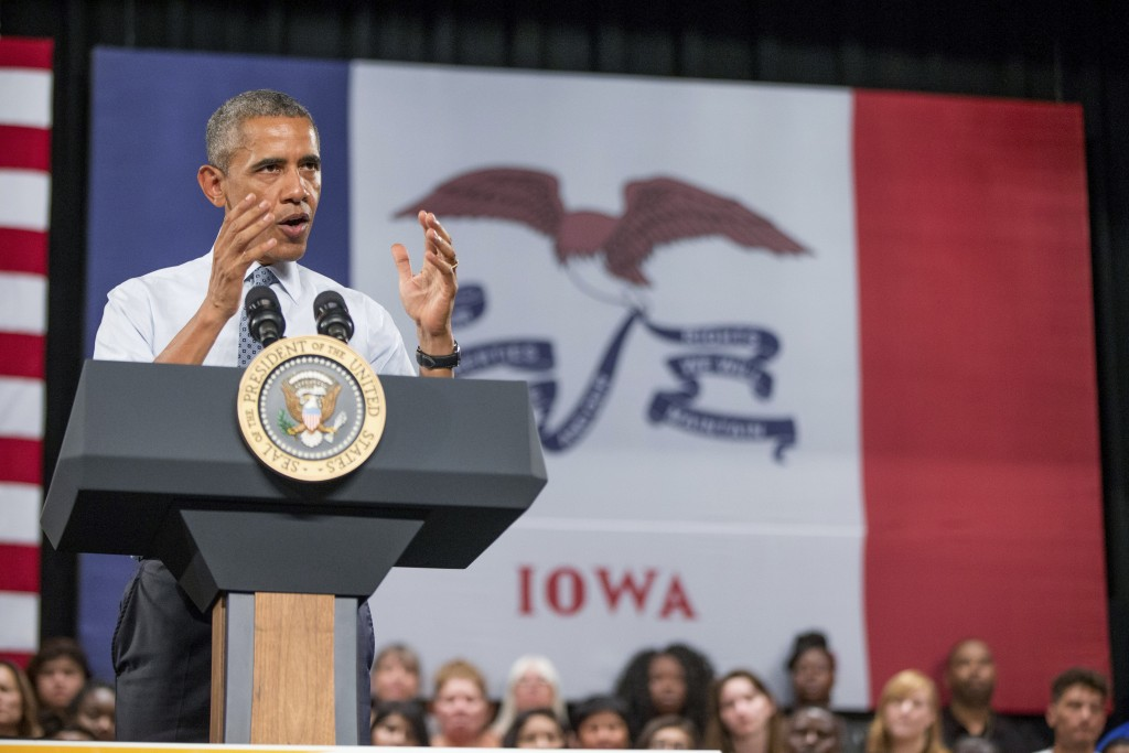File - In this Sept. 14, 2015, file photo, President Barack Obama, speaks at a town hall with high school juniors, seniors and their parents at North ...