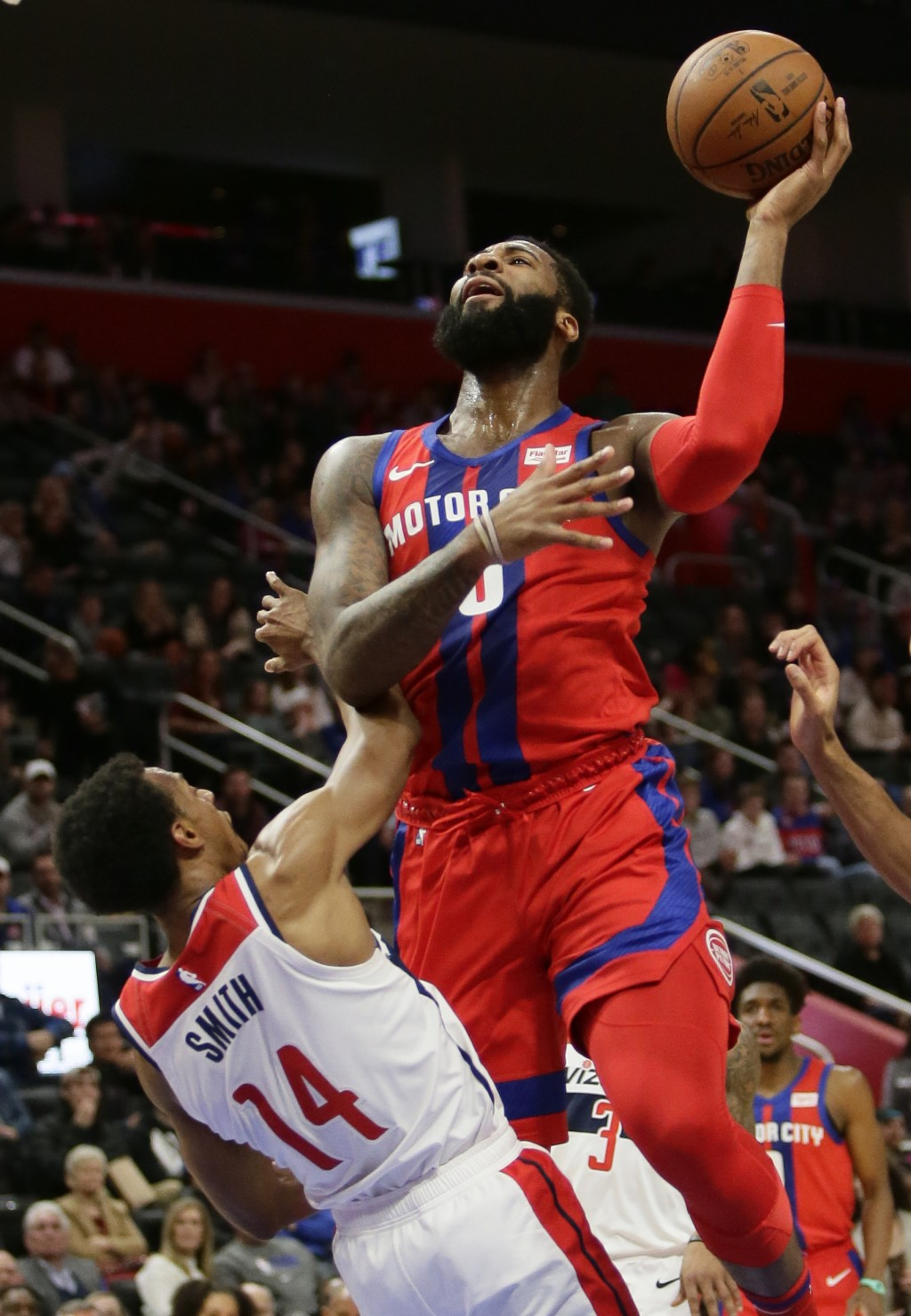 Detroit Pistons center Andre Drummond (0) shoots against Washington Wizards guard Ish Smith (14) during the first half of an NBA basketball game Thurs...