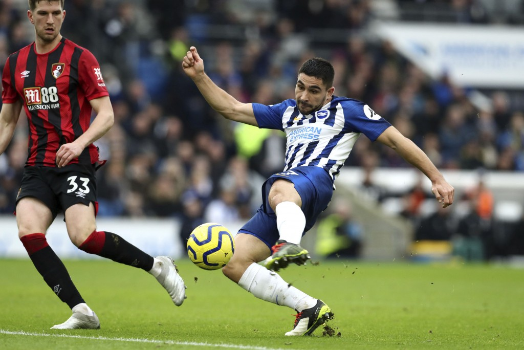 Brighton & Hove Albion's Beram Kayal during the English Premier League soccer match against Bournemouth at the AMEX Stadium, Brighton, England, Saturd...
