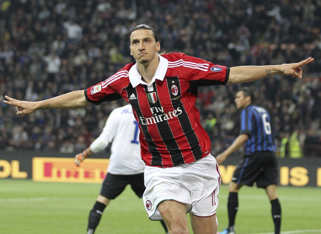 FILE - In this Sunday, May 6, 2012 filer, AC Milan forward Zlatan Ibrahimovic, of Sweden, celebrates after scoring during the Serie A soccer match bet...