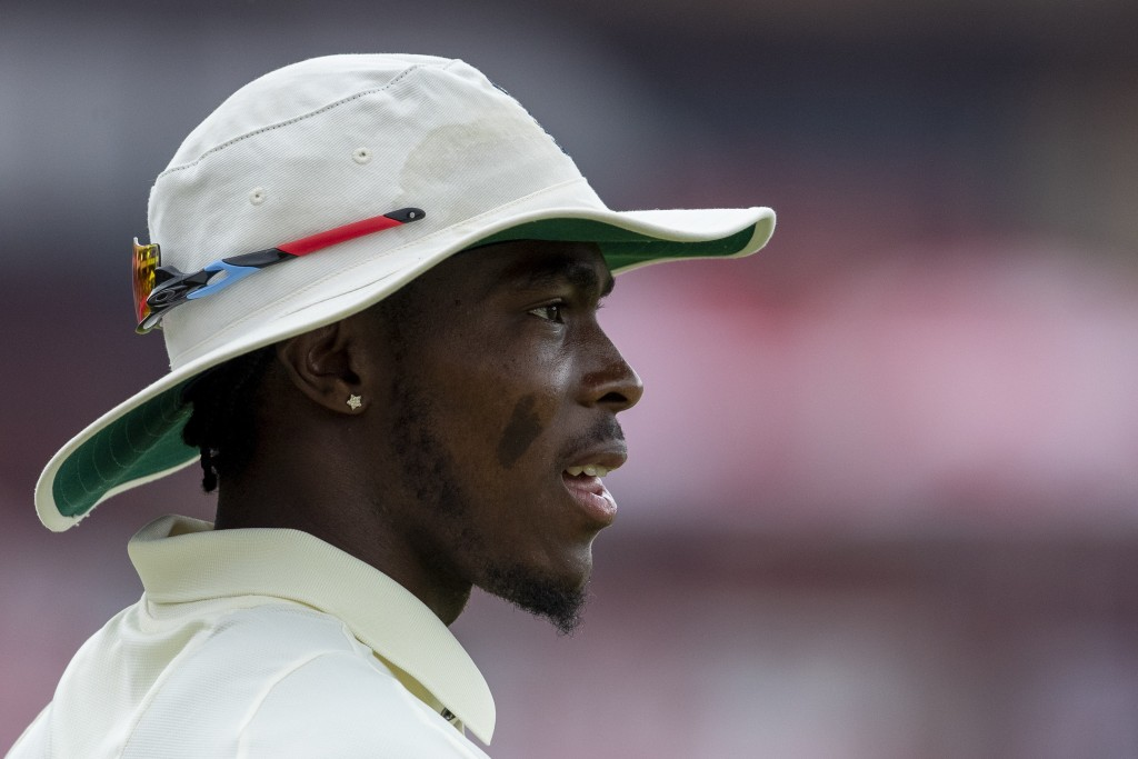 England's bowler Jofra Archer looks on during day three of the first cricket test match between South Africa and England at Centurion Park, Pretoria, ...