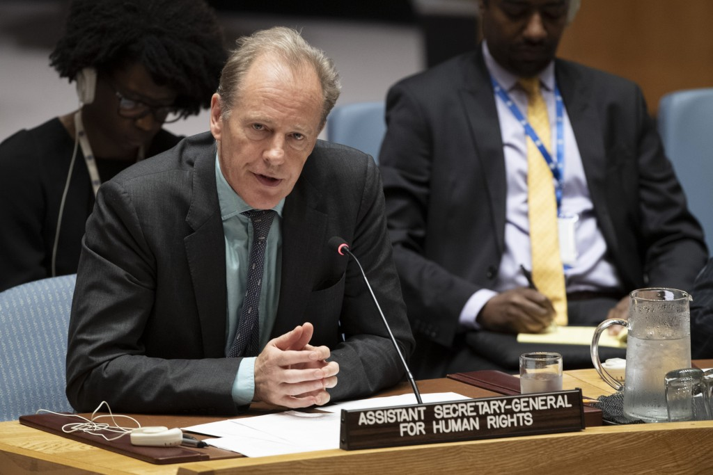 In this June 14, 2019, photo provided by the United Nations, Andrew Gilmour, assistant secretary-general for human rights, addresses the Security Coun...