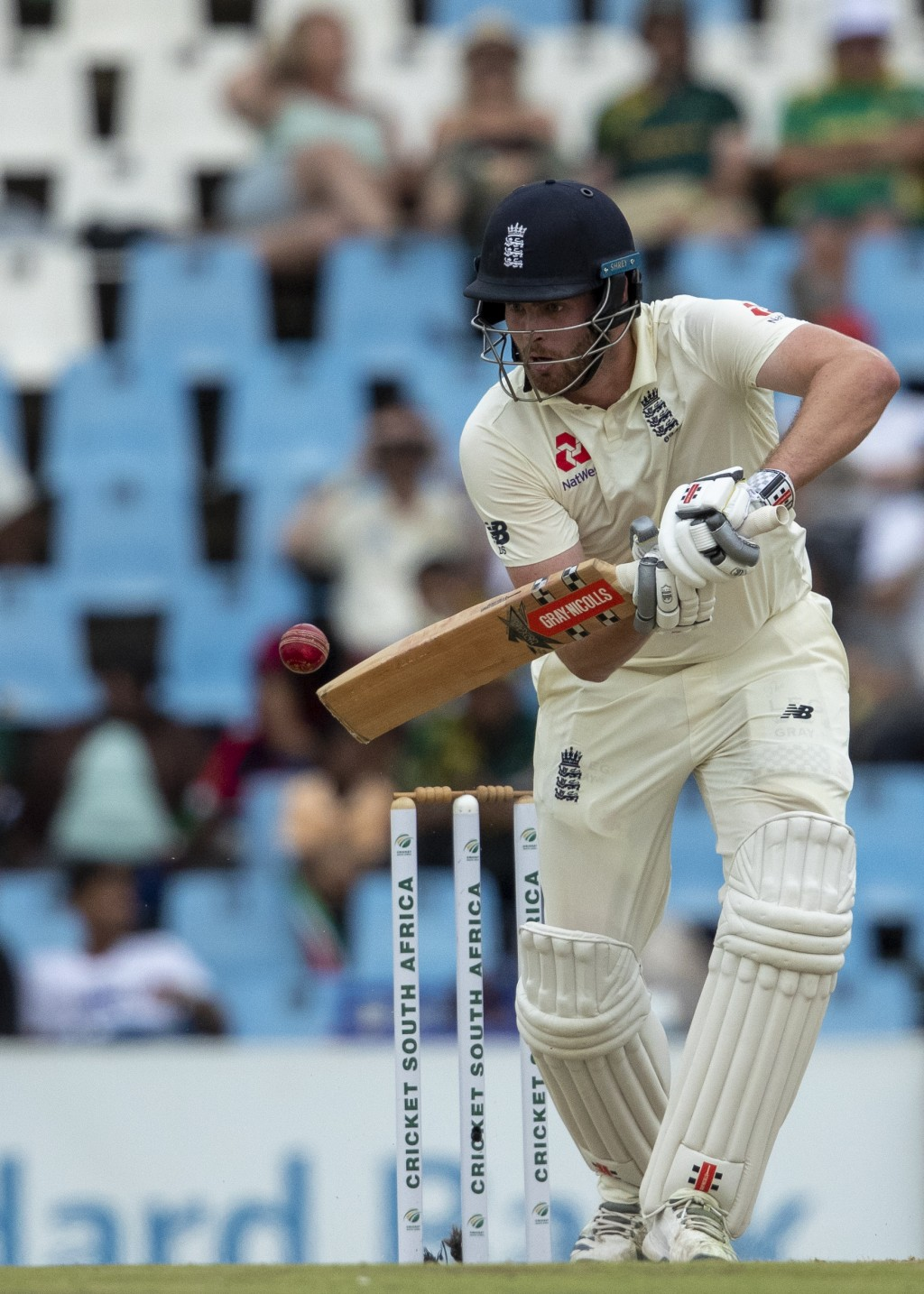 England's batsman Dom Sibley plays a shot on day three of the first cricket test match between South Africa and England at Centurion Park, Pretoria, S...