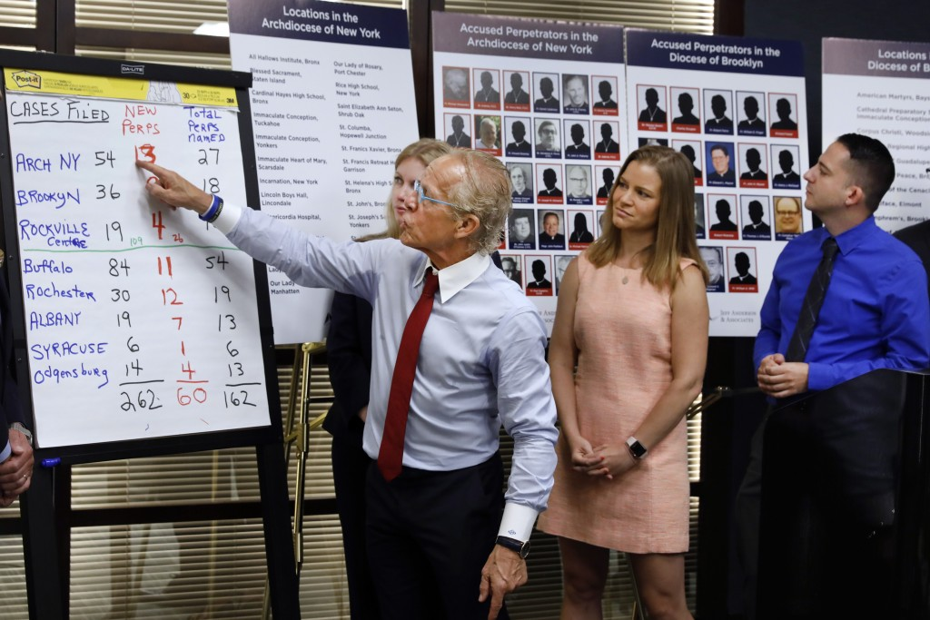 FILE - In this Wednesday, Aug. 14, 2019 file photo, attorney Jeff Anderson, left, points to a chart of sexual abuse perpetrators during a news confere...