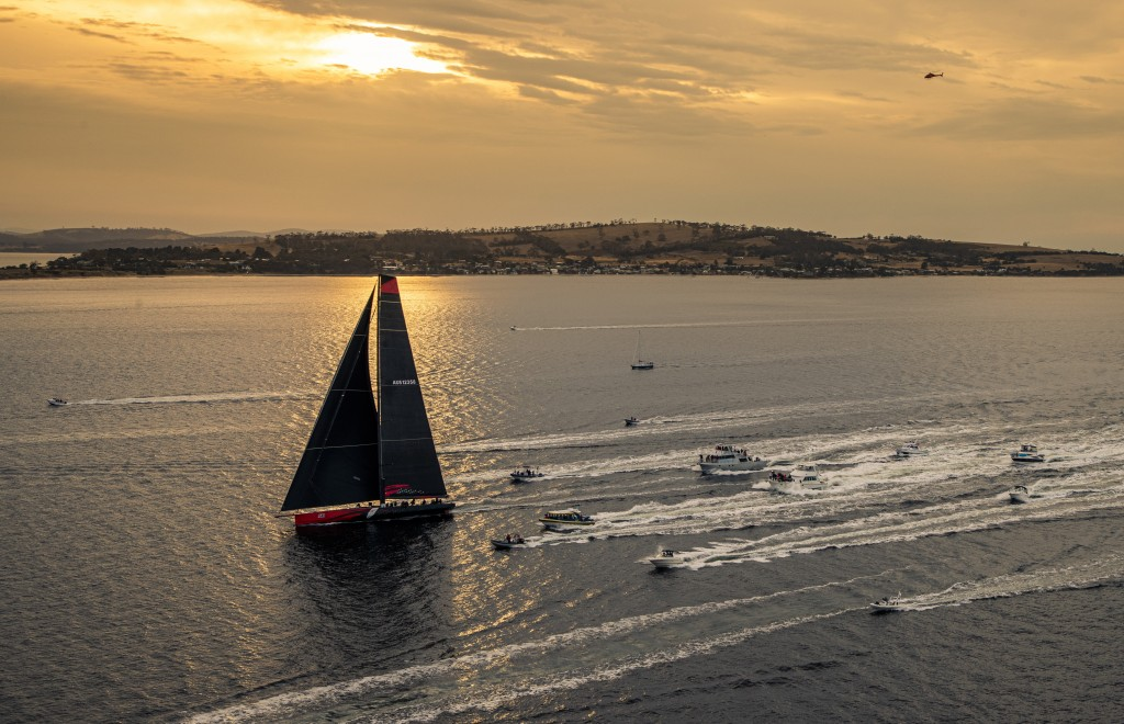 In a photo provided by Rolex, Comanche arrives to Hobart, Australia, to claim line honors in the Sydney to Hobart yacht race Saturday, Dec. 28, 2019. ...