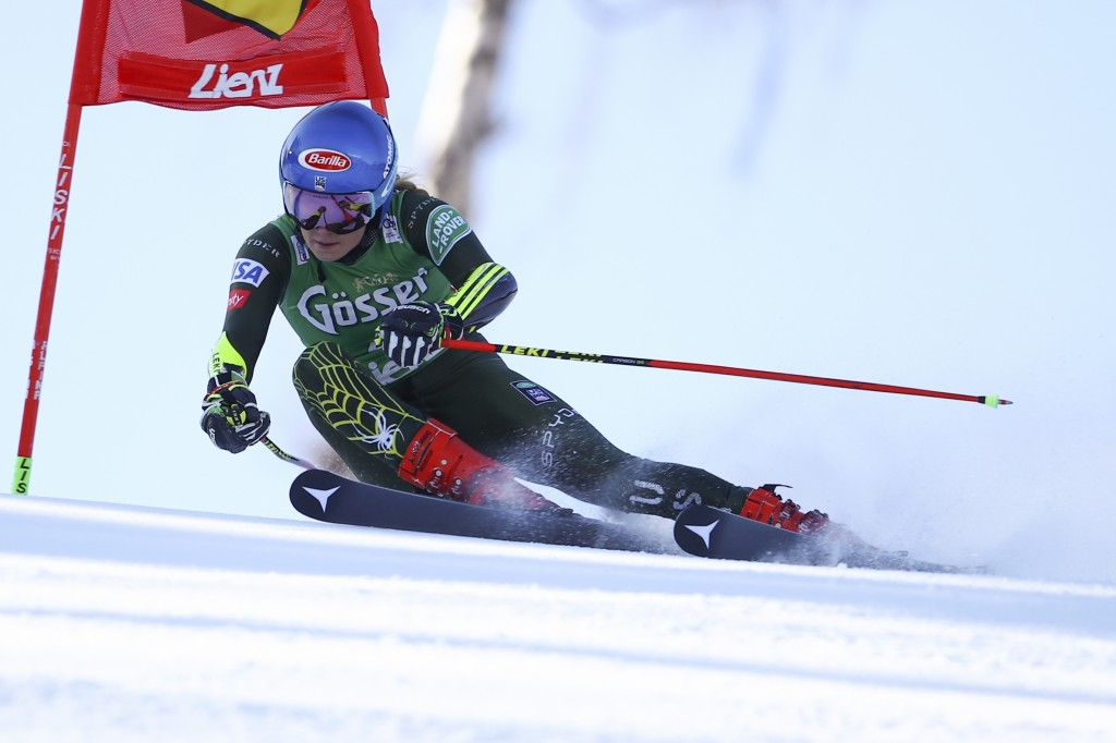 United States' Mikaela Shiffrin competes in an alpine ski, women's World Cup giant slalom, in Lienz, Austria, Saturday, Dec. 28, 2019. (AP Photo/Marco...