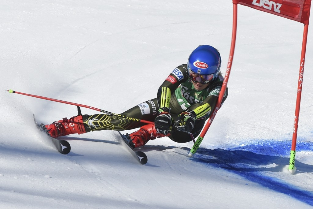 United States' Mikaela Shiffrin competes in an alpine ski, women's World Cup giant slalom, in Lienz, Austria, Saturday, Dec. 28, 2019. (AP Photo/Pierm...