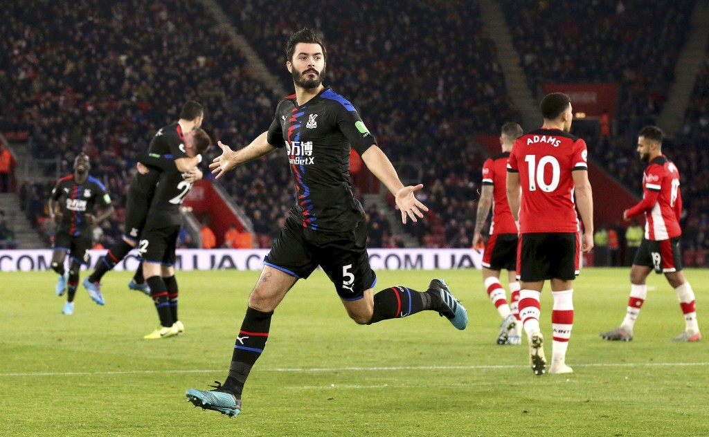 Crystal Palace's James Tomkins celebrates scoring against Southampton during the English Premier League soccer match at St Mary's Stadium, Southampton...