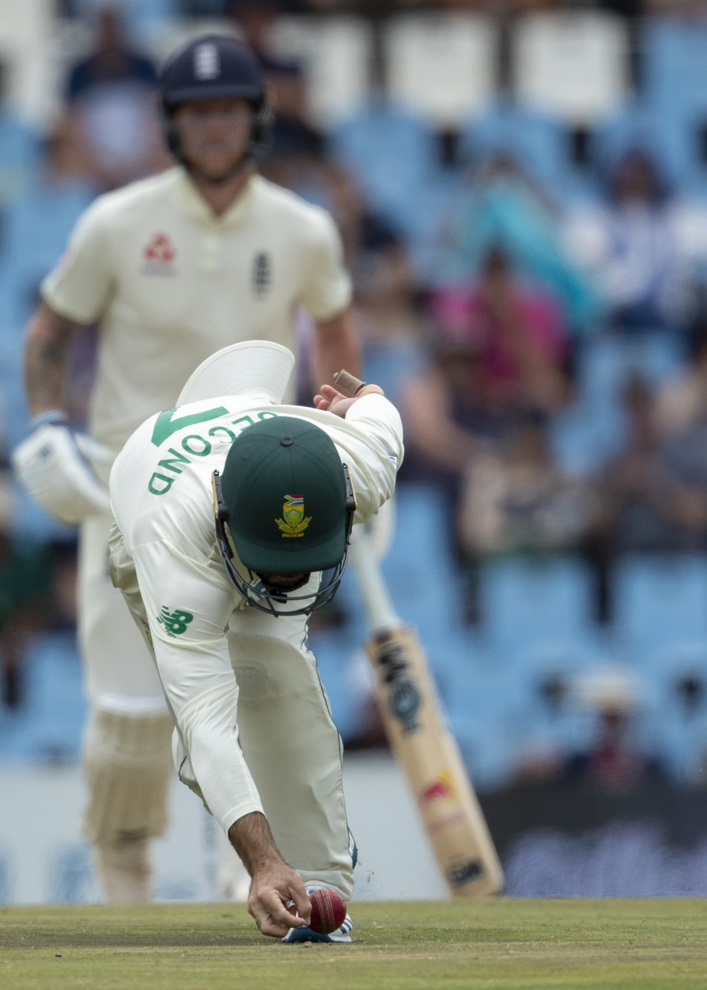 South Africa's Rudi Second attempts a catch on day four of the first cricket test match between South Africa and England at Centurion Park, Pretoria, ...