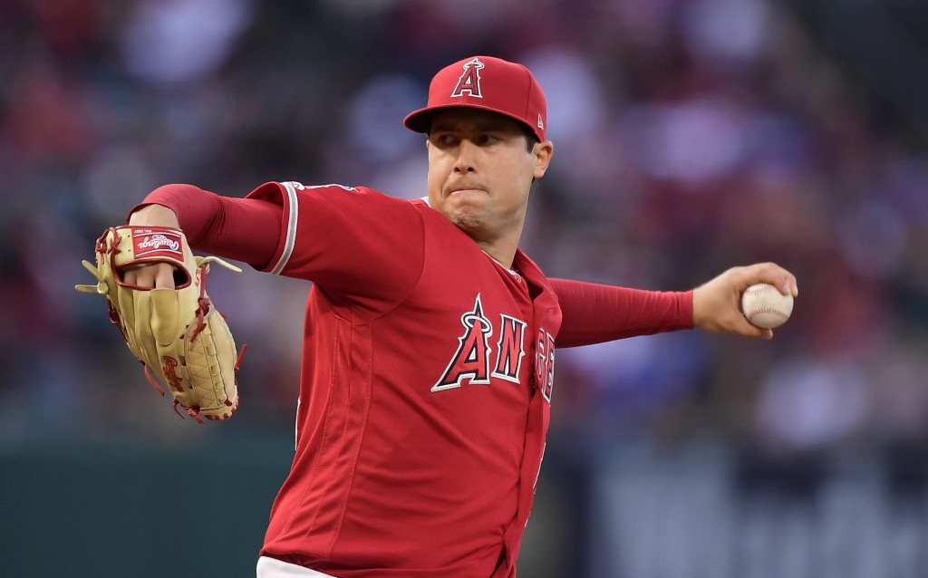 FILE - In this May 25, 2019, file photo, Los Angeles Angels starting pitcher Tyler Skaggs throws during the first inning of a baseball game against th...
