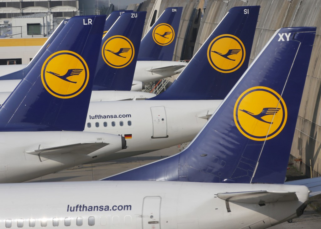 FILE - In this April 2, 2014 file picture Lufthansa aircraft are parked as Lufthansa pilots went on a three-days-strike in Frankfurt, Germany. Lufthan...