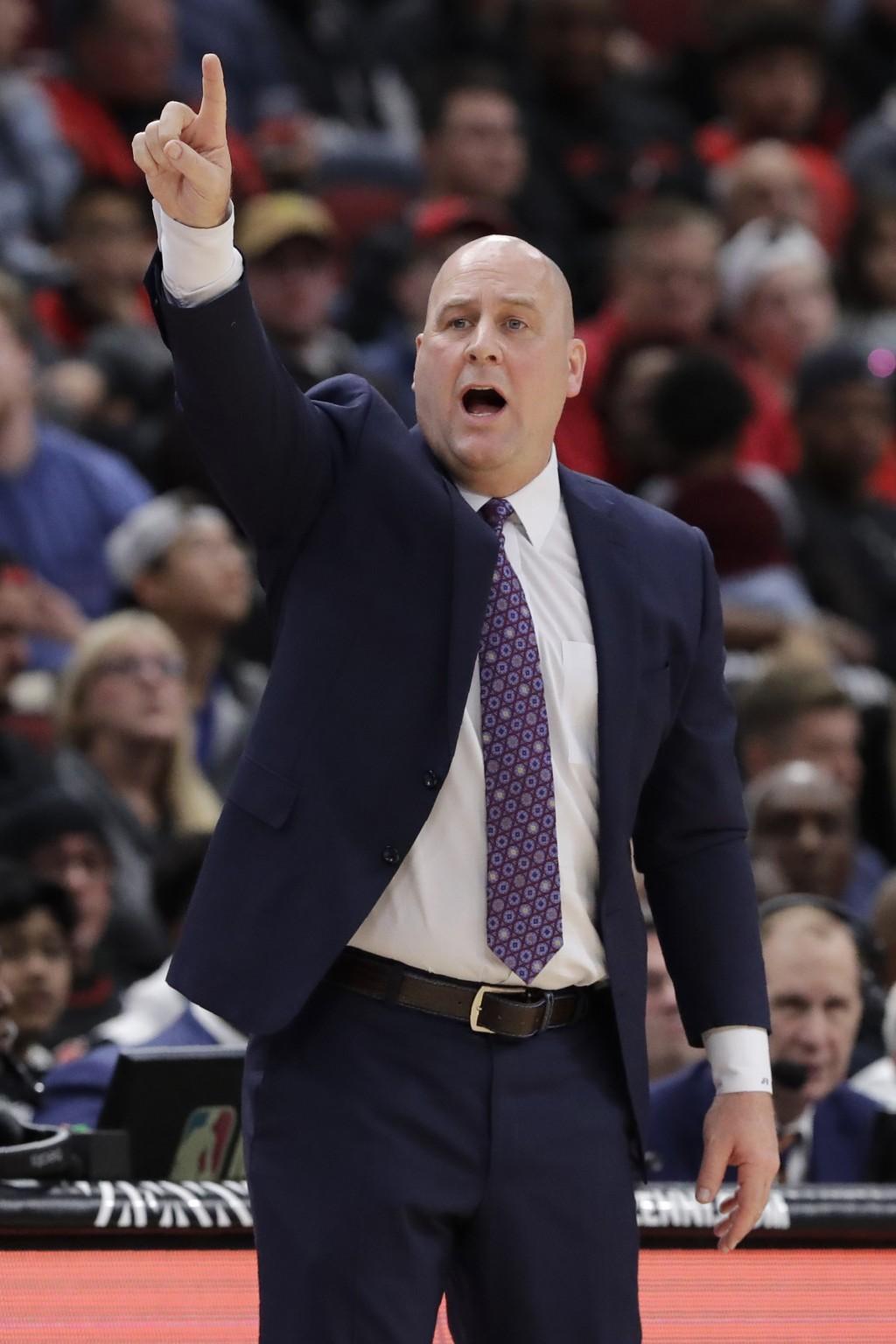 Chicago Bulls head coach Jim Boylen points as he calls a play during the first half of an NBA basketball game against the Atlanta Hawks, Saturday, Dec...