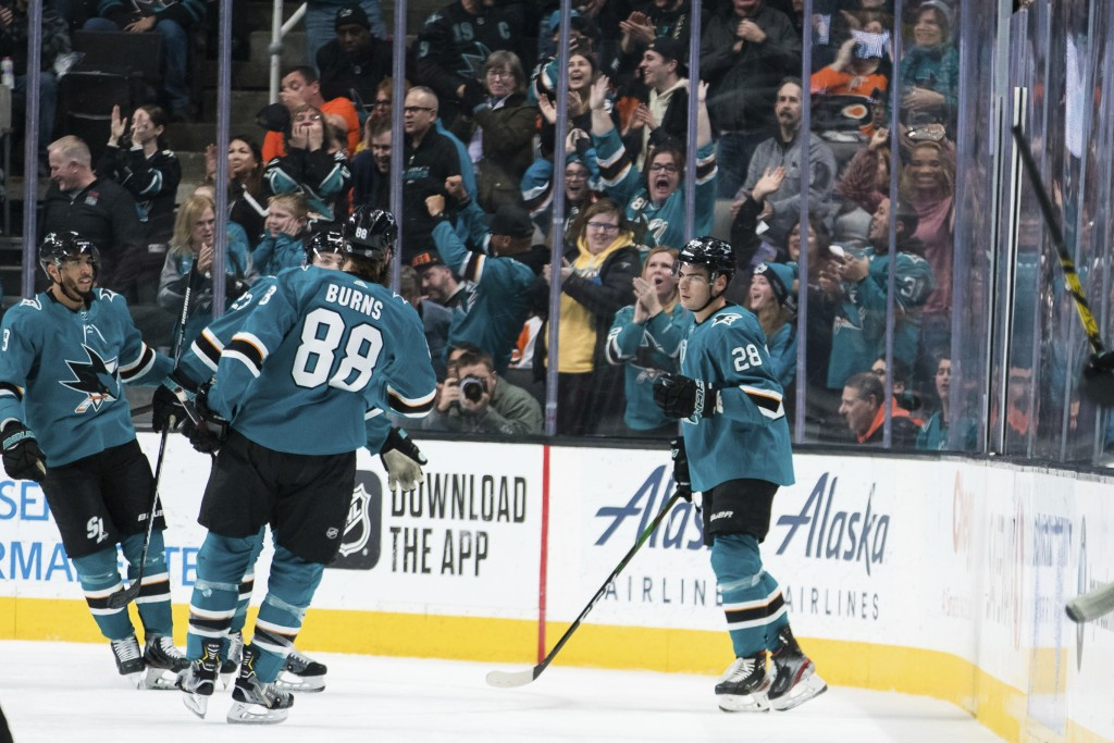 San Jose Sharks right wing Timo Meier (28) celebrates after scoring a goal against the Philadelphia Flyers during the second period of an NHL hockey g...