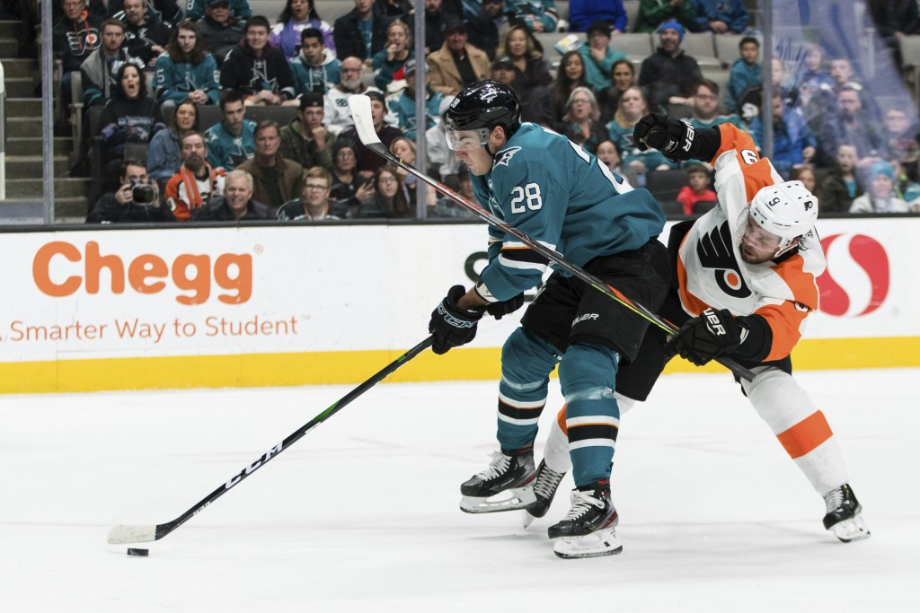 Philadelphia Flyers defenseman Ivan Provorov (9) defends as San Jose Sharks right wing Timo Meier (28) prepares to shoot during the first period of an...