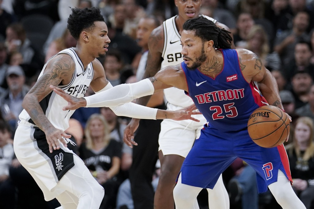 Detroit Pistons' Derrick Rose (25) drives against San Antonio Spurs' Dejounte Murray during the second half of an NBA basketball game Saturday, Dec. 2...