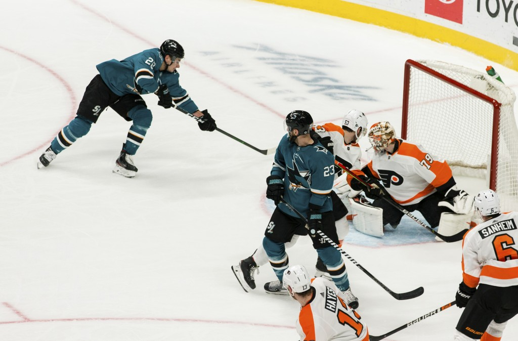 San Jose Sharks right wing Timo Meier (28) scores a goal for his first hat trick, against Philadelphia Flyers goaltender Carter Hart (79) during the t...