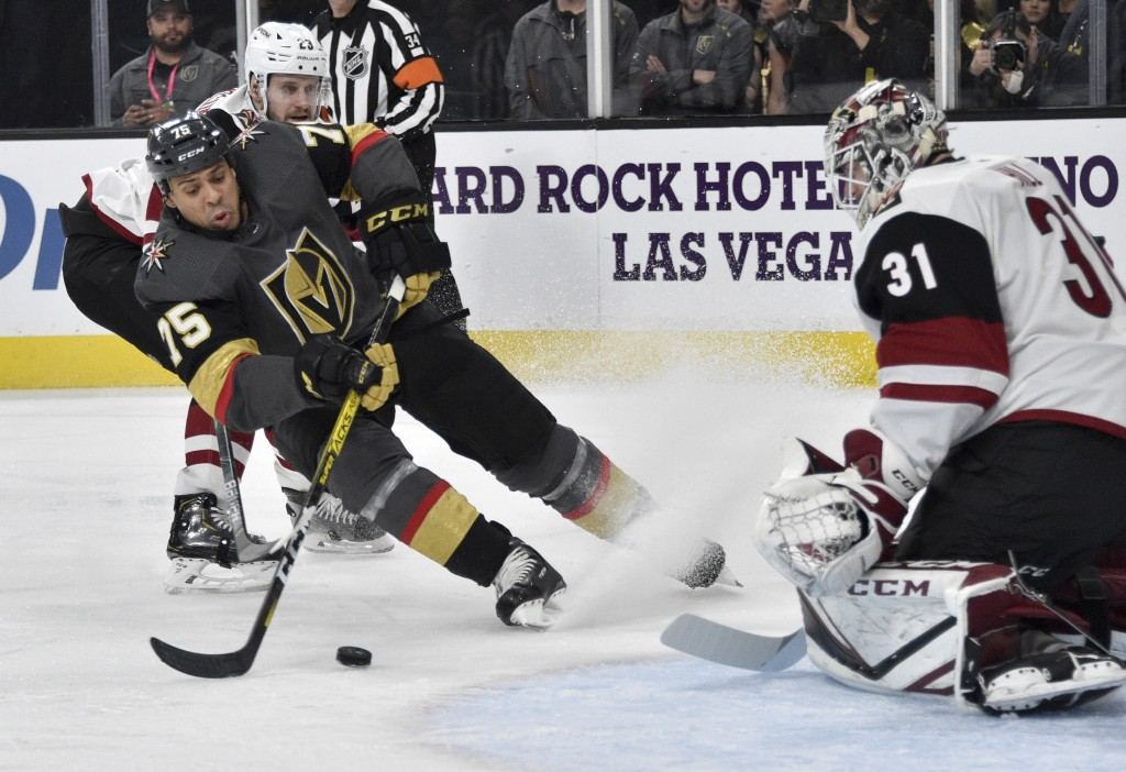 Vegas Golden Knights right wing Ryan Reaves (75) shoots against Arizona Coyotes goaltender Adin Hill during the second period of an NHL hockey game Sa...