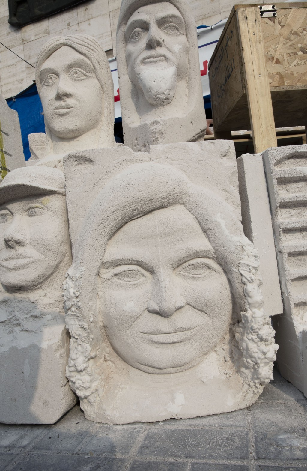In this Sunday, Dec. 15, 2019, photo, completed sculptures wait to be stored in preparation for an upcoming art exhibition, during the ongoing protest...