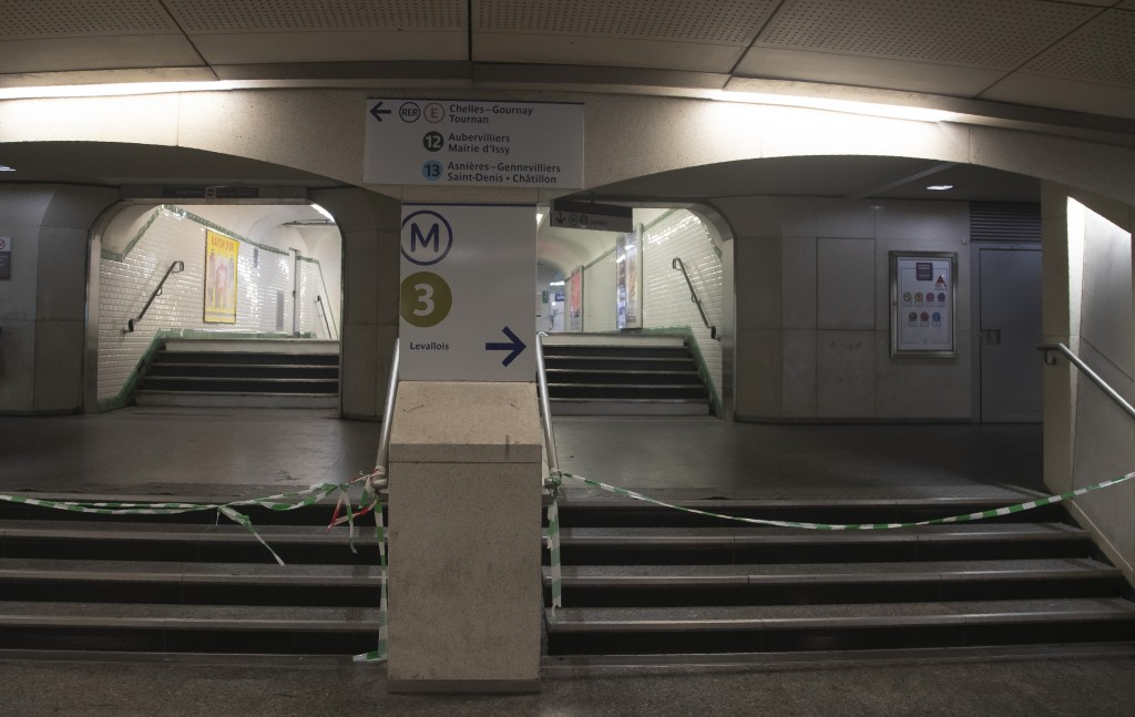 A closed access to the subway at Gare Saint Lazar train station in Paris, Sunday, Dec. 29, 2019. Strikes, which began Dec. 5, have disrupted transport...