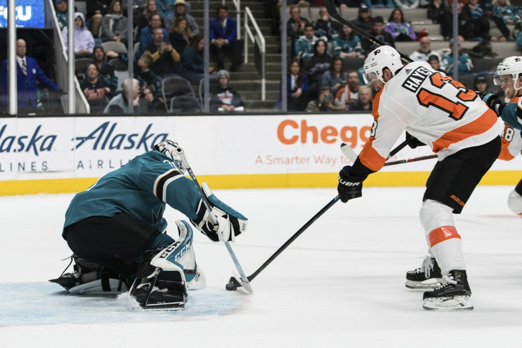 San Jose Sharks goaltender Martin Jones (31) defends against a shot by Philadelphia Flyers center Kevin Hayes (13) during the second period of an NHL ...