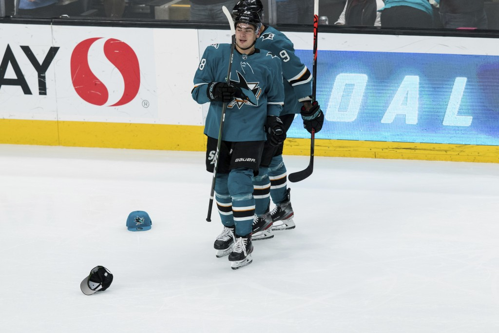 San Jose Sharks right wing Timo Meier celebrates after scoring a goal against the Philadelphia Flyers during the third period of an NHL hockey game, f...