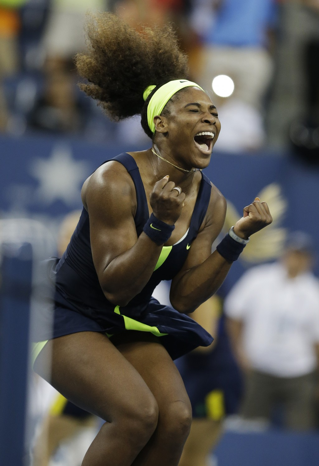 File-This Sept. 9, 2012, file photo shows Serena Williams reacting after beating Victoria Azarenka, of Belarus, in the championship match at the 2012 ...