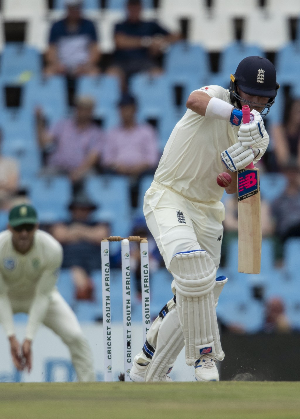 England's batsman Rory Burns bats on day four of the first cricket test match between South Africa and England at Centurion Park, Pretoria, South Afri...