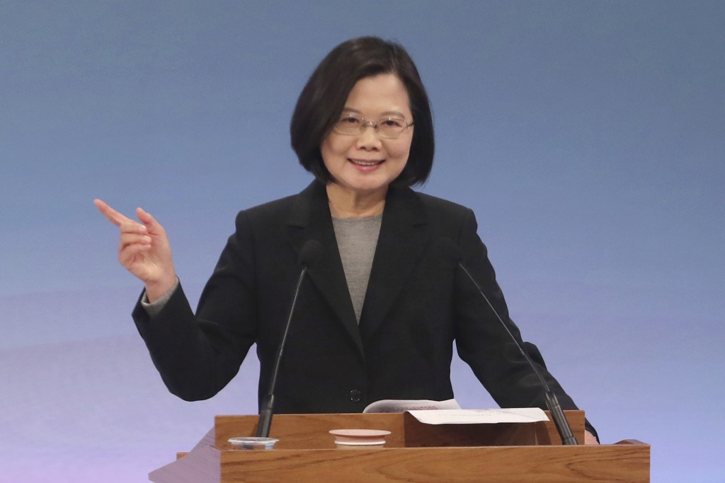 Taiwan's 2020 presidential election candidate Tsai Ing-wen of the Democratic Progressive Party (DPP) speaks during a televised policy debate in Taipei...
