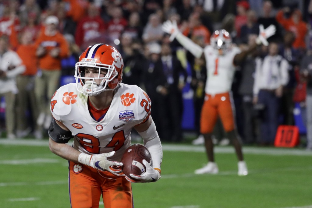 Clemson safety Nolan Turner (24) celebrates after his interception against Ohio State during the final minute of the Fiesta Bowl NCAA college football...