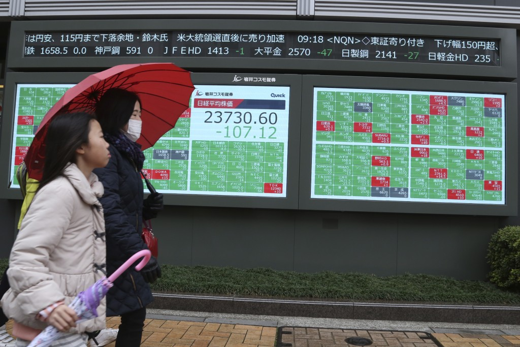 People walk by an electronic stock board of a securities firm in Tokyo, Monday, Dec. 30, 2019. Asian shares were mostly lower Monday as investors awai...