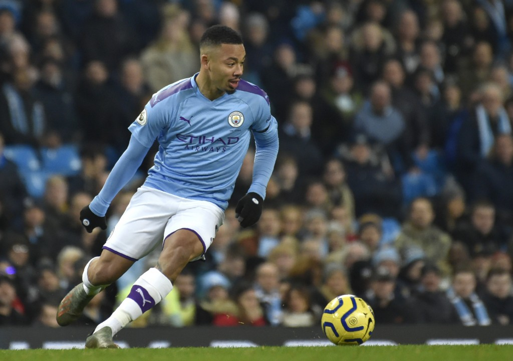 Manchester City's Gabriel Jesus controls the ball during the English Premier League soccer match between Manchester City and Sheffield United at Etiha...