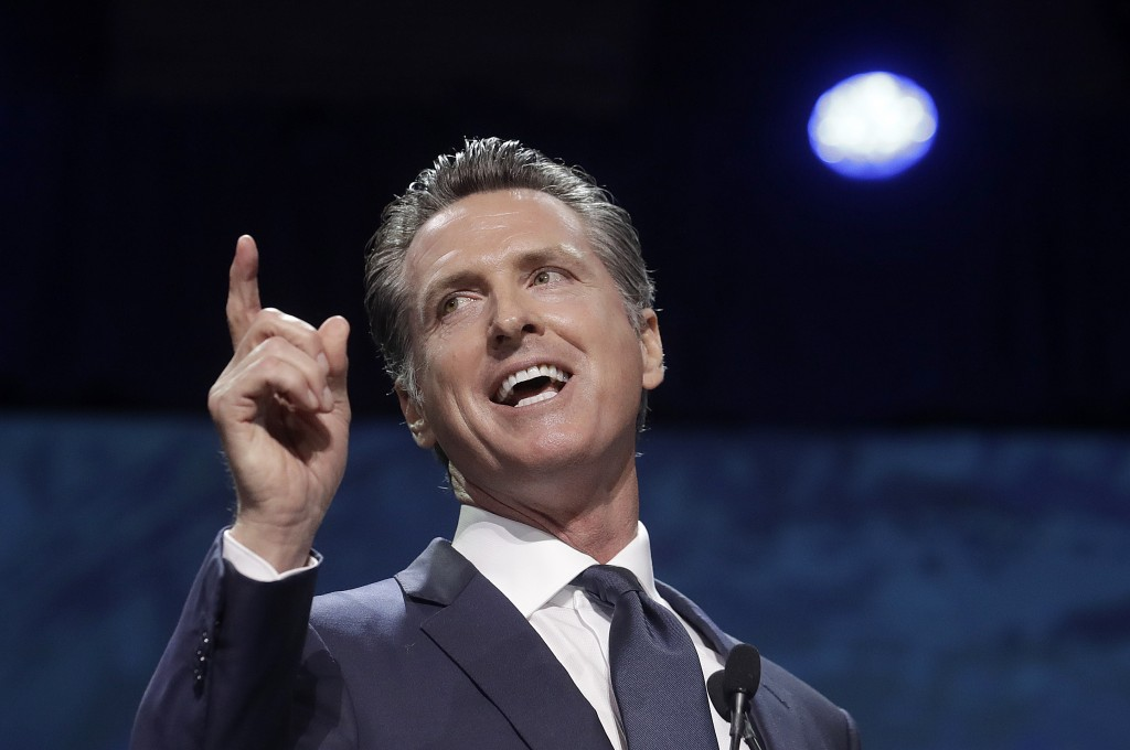 FILE - In this June 1, 2019, file photo, Gov. Gavin Newsom speaks during the 2019 California Democratic Party State Organizing Convention in San Franc...