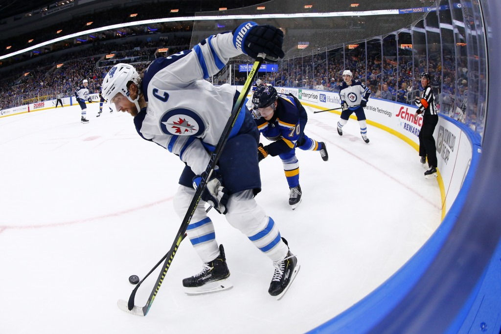 Winnipeg Jets winger Blake Wheeler (26) fights St. Louis Blues center Oskar Sundqvist (70), of Sweden, for control of the puck during the third period...