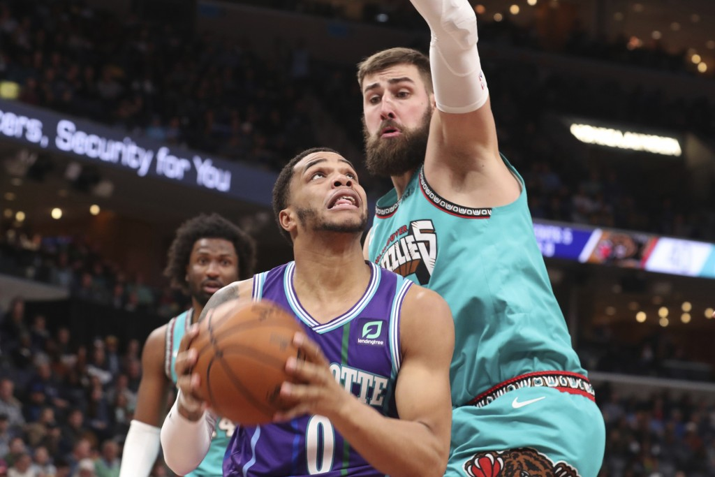 Charlotte Hornets forward Miles Bridges (0) goes up to shoot as Memphis Grizzliescenter Jonas Valanciunas (17) defends in the first half of an NBA bas...