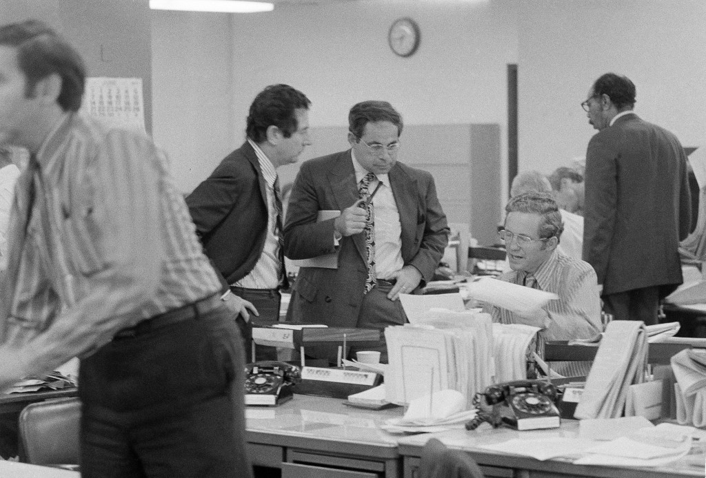 FILE - This June 15, 1971 file photo shows the city room of the New York Times after a federal judge ordered the paper to temporarily cease publicatio...