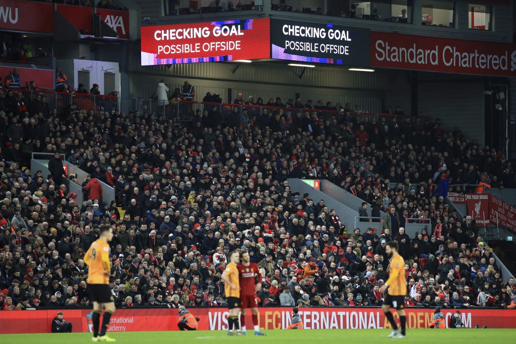 The video screens announce that a Wolverhampton Wanderers' goal is being checked, before it was disallowed for offside, during the English Premier Lea...
