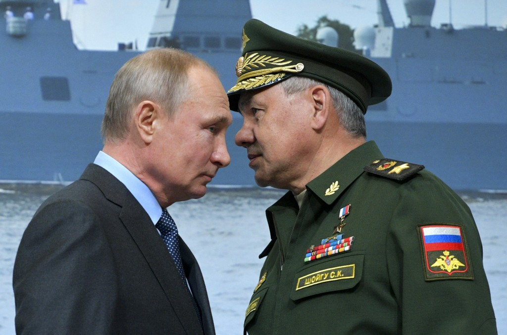 FILE In this file photo taken on Tuesday, April 23, 2019, Russian President Vladimir Putin, left, and Russian Defense Minister Sergei Shoigu during a ...
