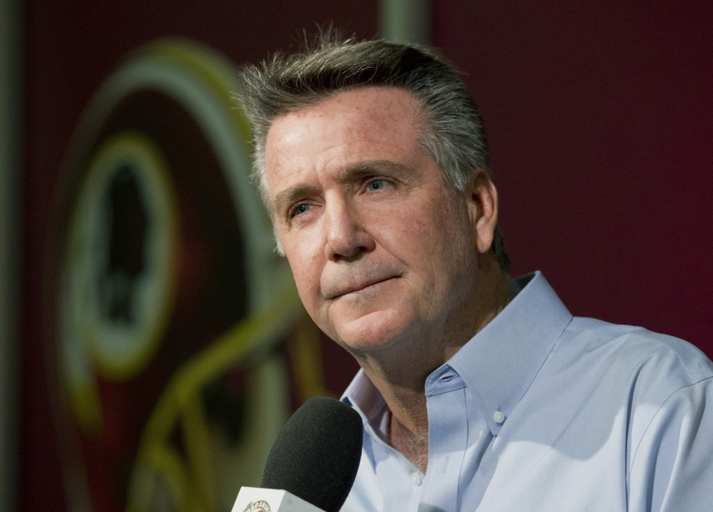 FILE - In this Dec. 31, 2014 file photo, Washington Redskins team President and General Manager Bruce Allen speaks to reporters during an NFL football...