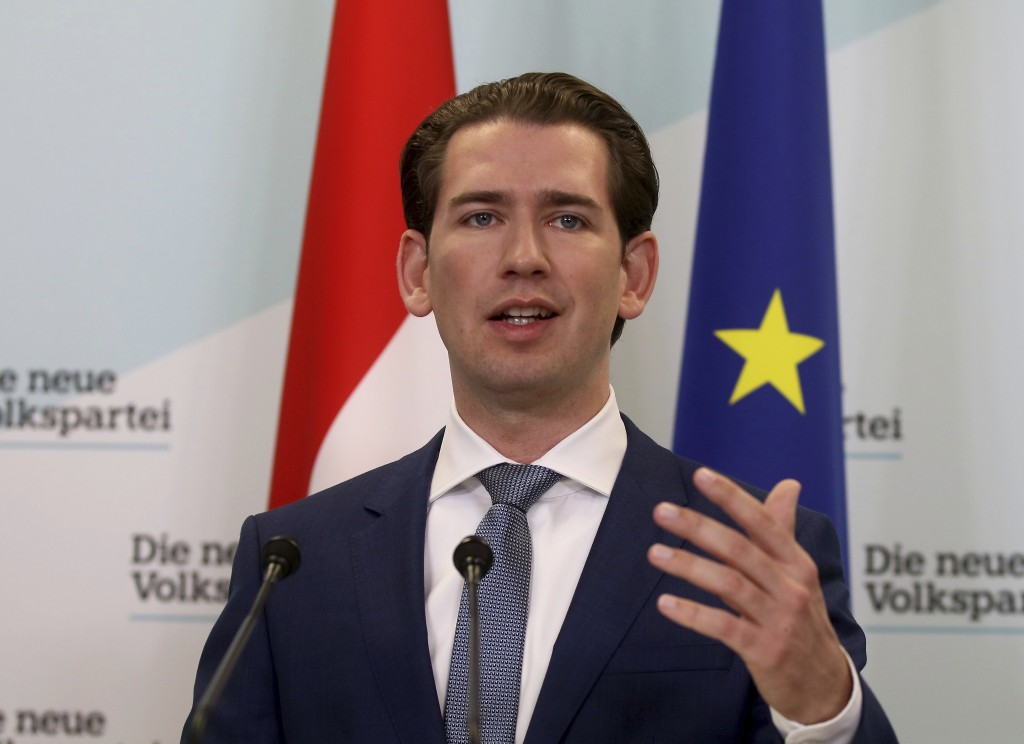 In this Monday, Nov. 11, 2019 file photo, Sebastian Kurz head of the Austrian People's Party, OEVP, speaks to journalists during a press conference ab...