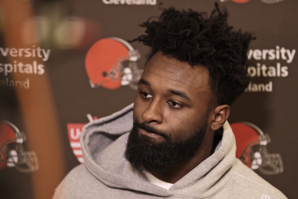 Cleveland Browns wide receiver Jarvis Landry answers questions at the NFL football team's training camp facility, Monday, Dec. 30, 2019, in Berea, Ohi...