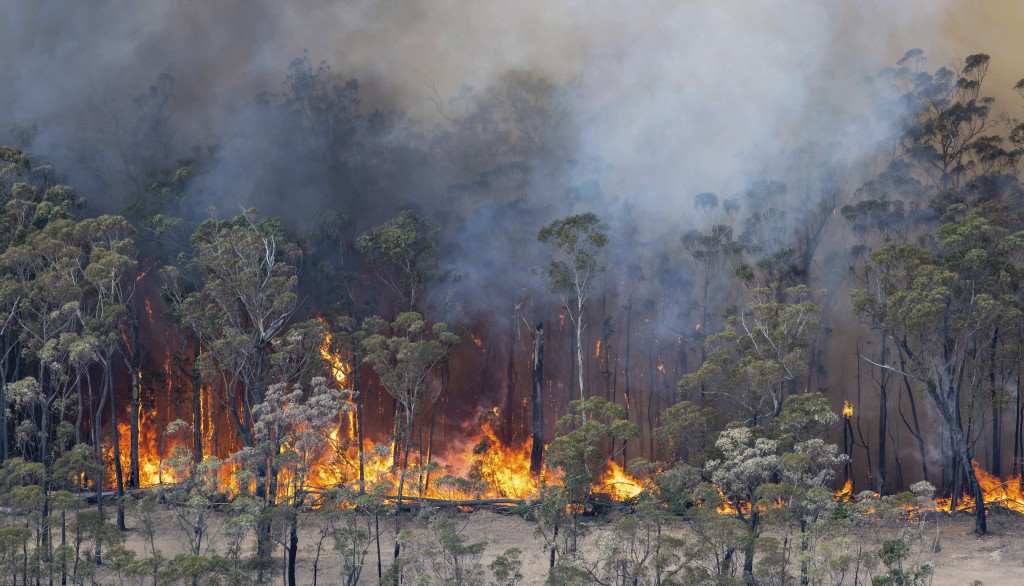 This Monday, Dec. 30, 2019 photo provided by State Government of Victoria shows wildfires in East Gippsland, Victoria state, Australia. Wildfires burn...