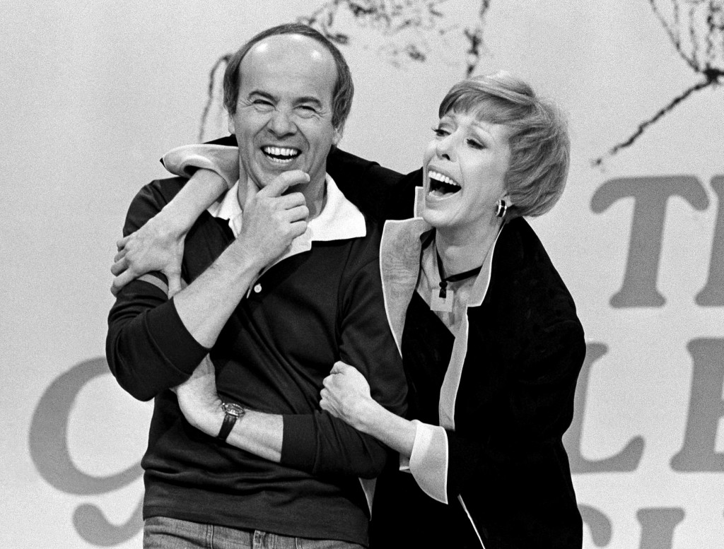 """Comedian Carol Burnett laughs with co-star Tim Conway during the taping of the final episode of """"The Carol Burnett Show"""" in Los Angeles on March 19, 1..."""