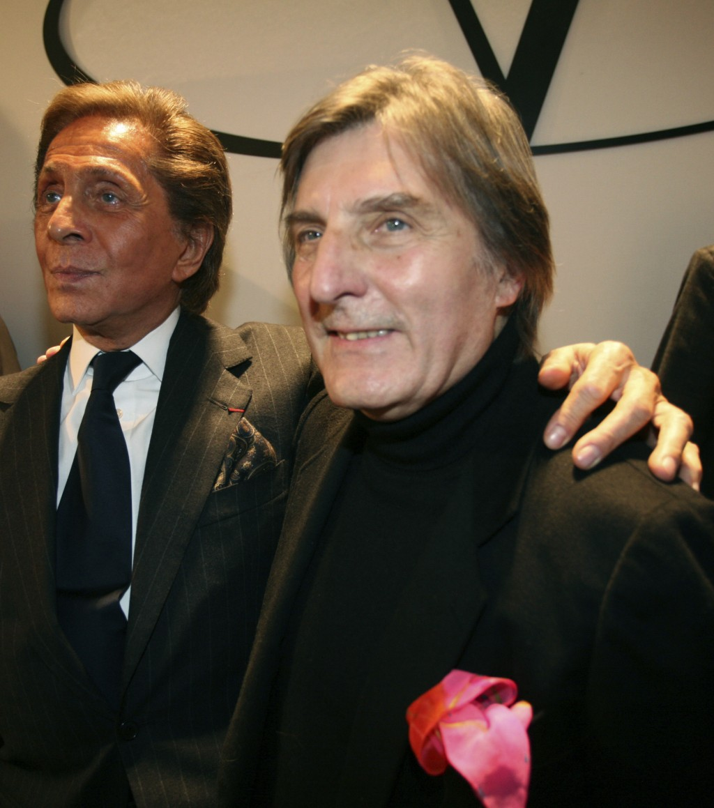 Italian fashion designer Valentino, left, appears with French designer Emmanuel Ungaro after the presentation of his Haute Couture Spring-Summer 2008 ...