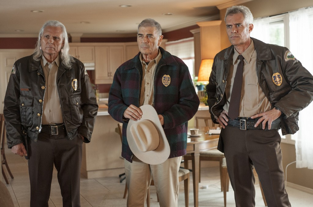 """This image released by Showtime shows, from left, Michael Horse, Robert Forster and Dana Ashbrook in a scene from the series """"Twin Peaks."""" Forster, th..."""