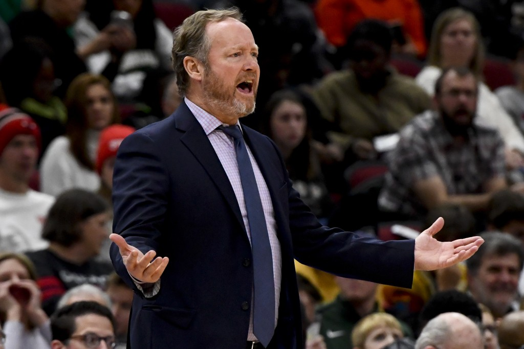 Milwaukee Bucks head coach Mike Budenholzer reacts during the first half of an NBA basketball game against the Chicago Bulls, Monday, Dec. 30, 2019, i...