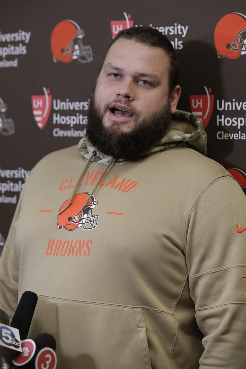 Cleveland Browns offensive guard Joel Bitonio speaks to the media at the NFL football team's training camp facility, Monday, Dec. 30, 2019, in Berea, ...